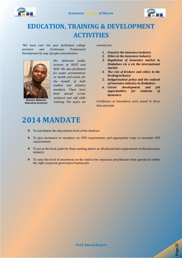 Insurance Institute Of Harare 2014 Annual Report