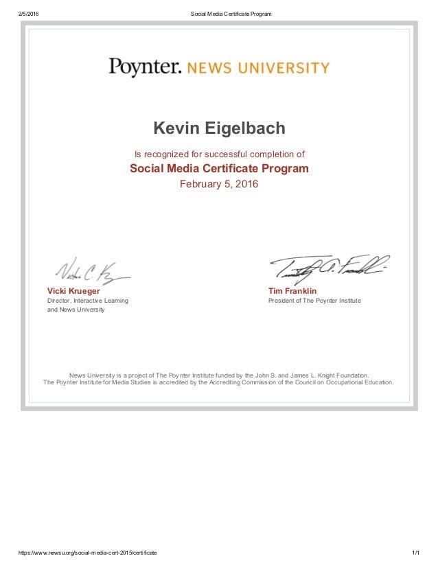 Social Media Certificate Program