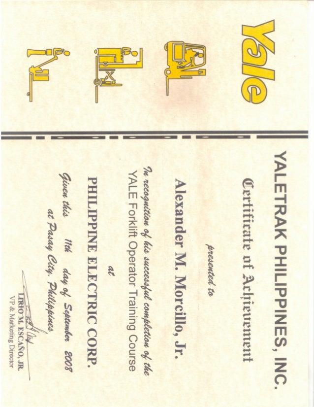 YALE trak certificate