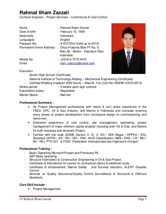 Rahmat Ilham Zazzali Contract Engineer - Project Services  Commercial &  Cost Control CV Rahmat Ilham ...