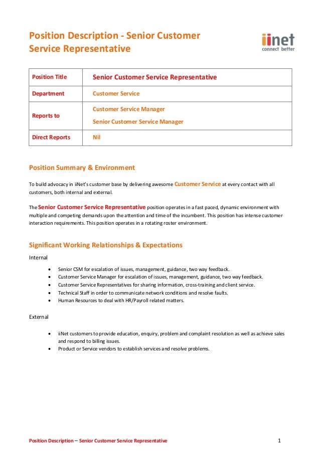 customer care representative job description