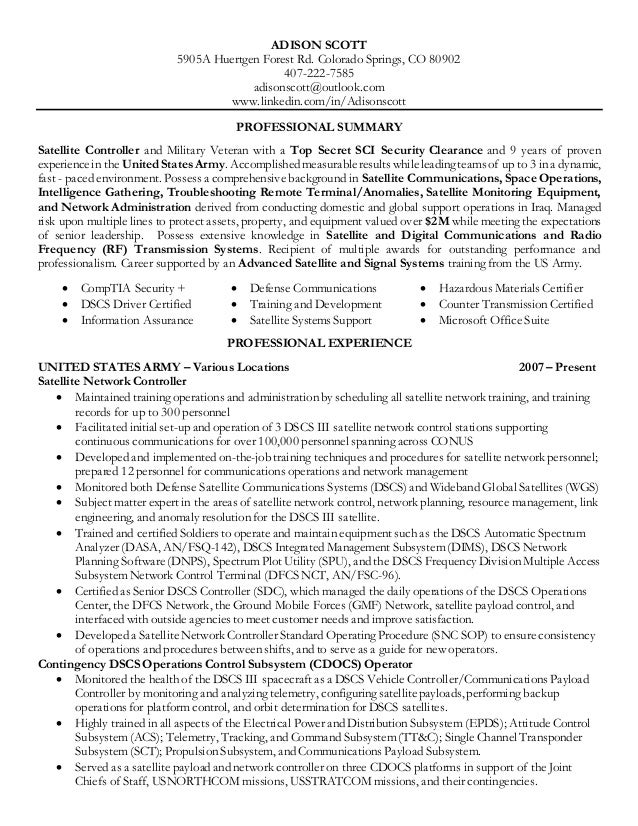 adison scott technical resume  satellite communication