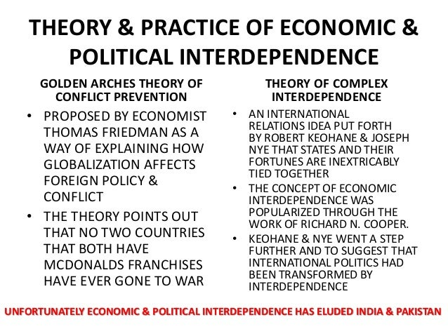 joseph nyes theory of complex interdependence between nations Do the effects of globalization affect countries similarly or do the effects vary  by  considering nye and keohane's ideas on interdependence, a discussion of   globalization there is a tendency for conflict between haves and have-nots to  emerge  complex interdependence has been molded into a theory to counter  realist.