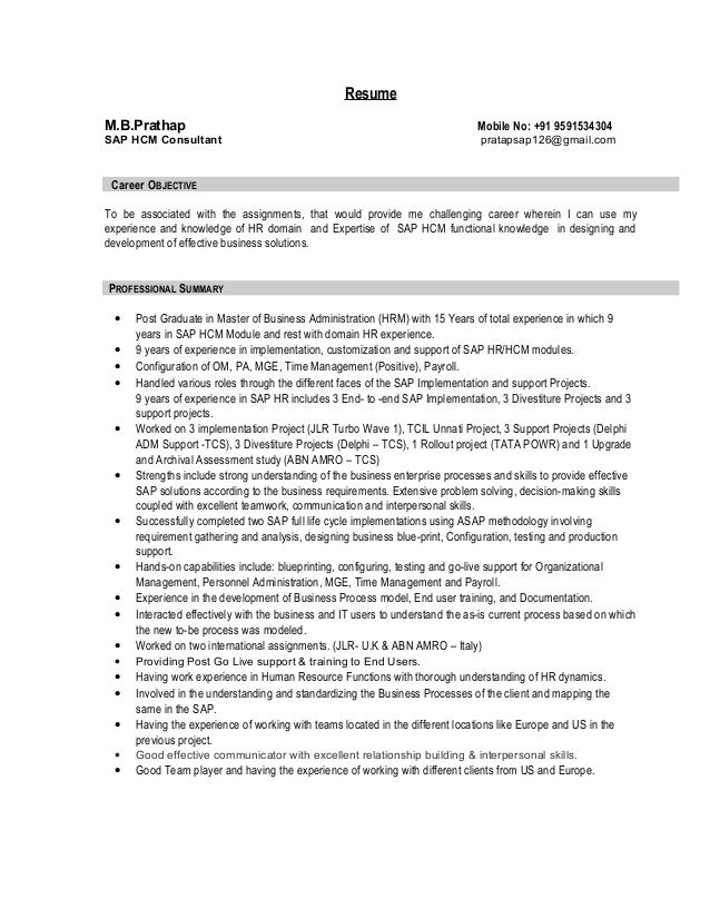 Resume MBPrathap Mobile No 91 9591534304 SAP HCM Consultant Pratapsap126gmail