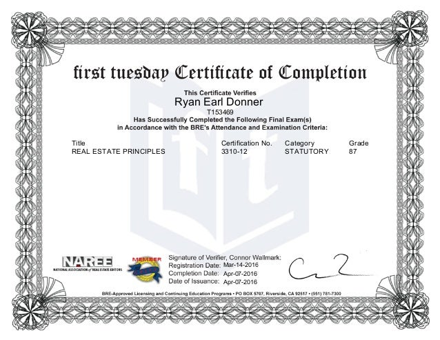 Certificate of Completion-Real Estate Principles