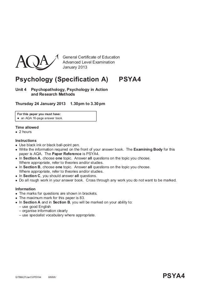 General Certificate of EducationAdvanced Level ExaminationJanuary 2013Psychology (Specification A) PSYA4Unit 4 Psychopatho...