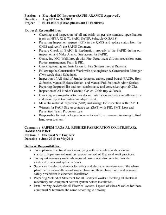 100 electrical qa qc engineer resume sle qa engineer