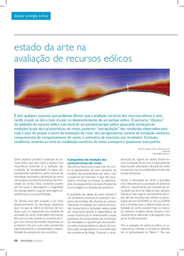 renováveismagazine50 dossier energia eólica estado da arte na avaliação de recursos eólicos Outro aspecto paralelo à avali...