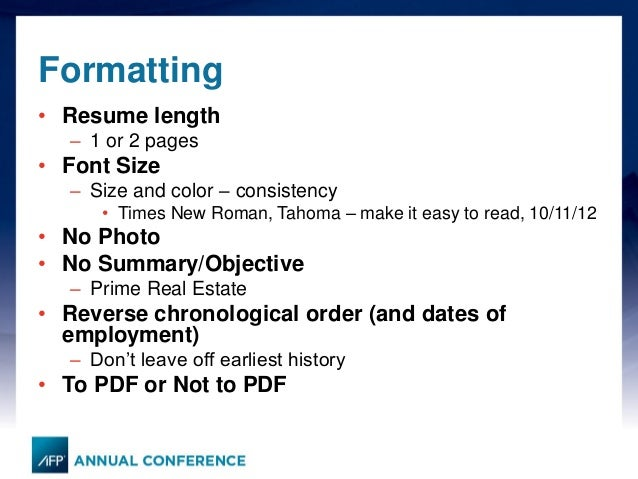 Afp 2014 An Impactful Resume And What Do Headhunters
