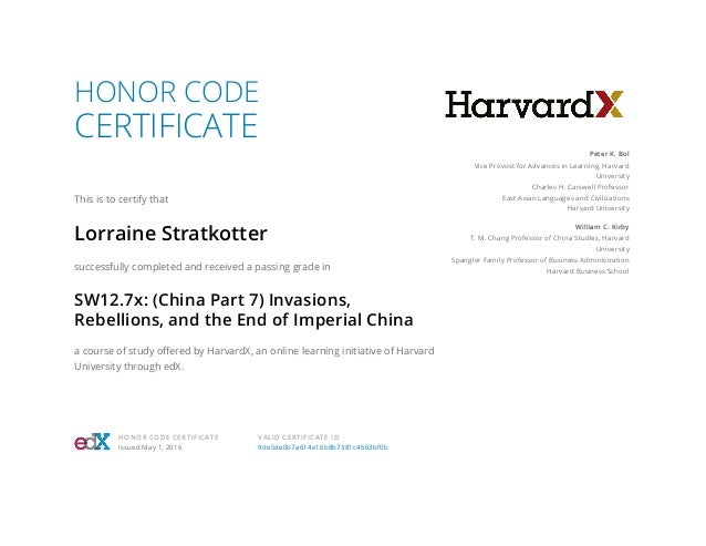 HONOR CODE CERTIFICATE This is to certify that Lorraine Stratkotter successfully completed and received a passing grade in...