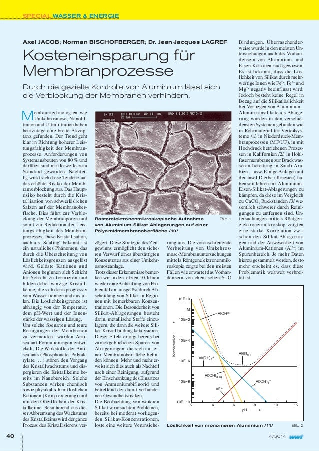 SPECIAL WASSER & ENERGIE 40 4/2014 Axel JACOB; Norman BISCHOFBERGER; Dr. Jean-Jacques LAGREF Kosteneinsparung für Membranp...