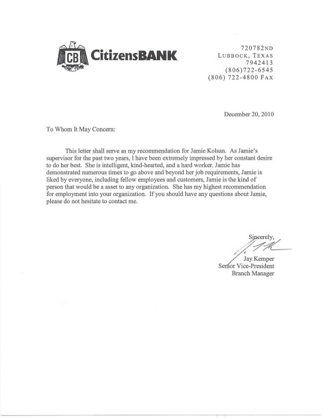 Bank Letter of Recommendation