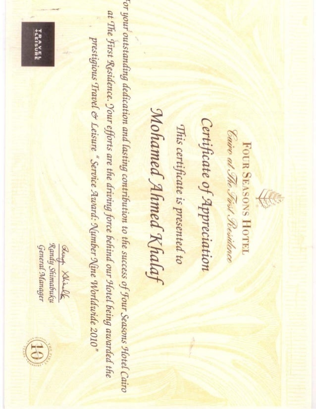 Four seasons appreciation certificate 10 years and best 9 hotelpdf yelopaper Image collections