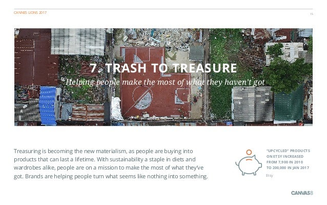 CANNES LIONS 2017 15 7. TRASH TO TREASURE Helping people make the most of what they haven't got Treasuring is becoming the...