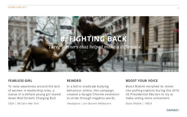 CANNES LIONS 2017 18 8. FIGHTING BACK Three winners that helped make a difference BOOST YOUR VOICE Boost Mobile morphed it...