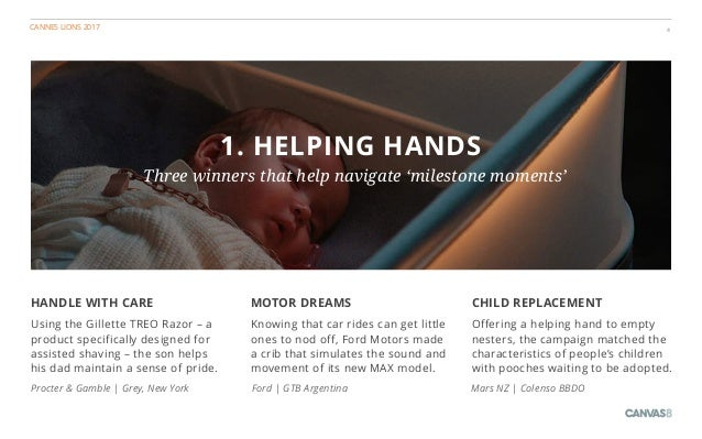 CANNES LIONS 2017 4 1. HELPING HANDS Three winners that help navigate 'milestone moments' CHILD REPLACEMENT Offering a hel...