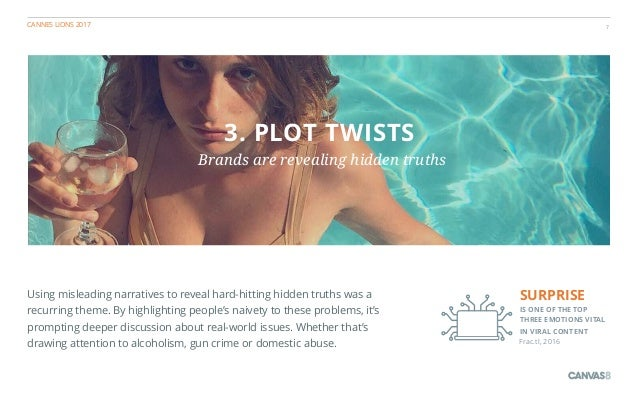 CANNES LIONS 2017 7 3. PLOT TWISTS Brands are revealing hidden truths Using misleading narratives to reveal hard-hitting h...