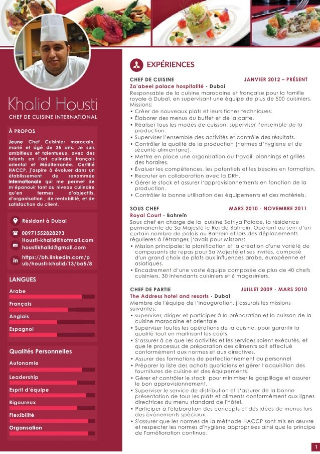 Khalid housti cv fr web for Salaire net commis de cuisine