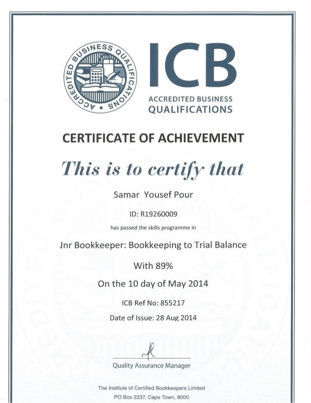 samar - damelin icb certificate bookkeeping to trial balance