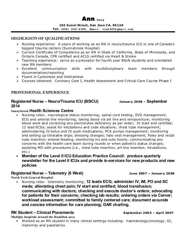 San jose nurse resume model letter of application