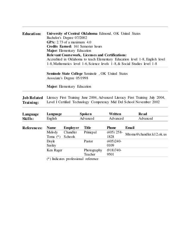 Free Professional Resume Oklahoma Teacher Certification