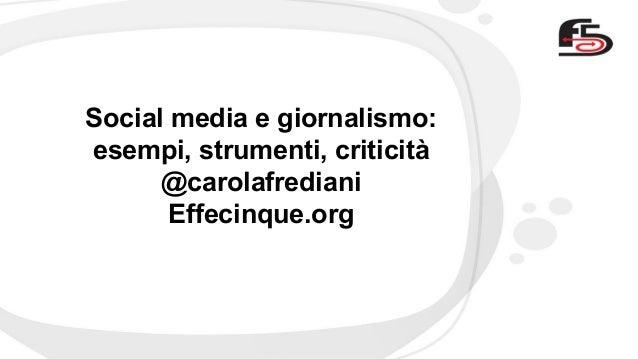 Social meda e giornalismo - workshop formazione giornalisti