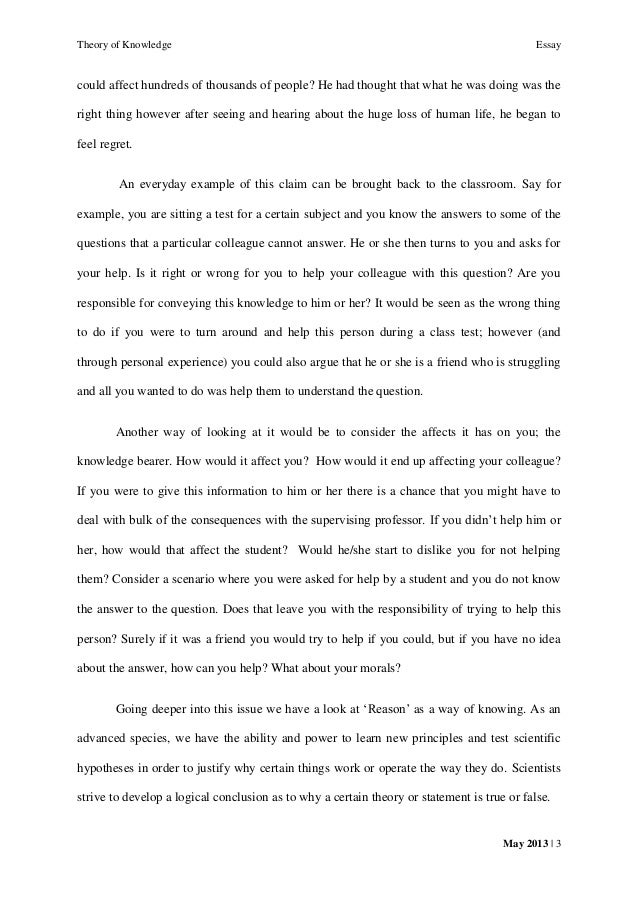 tok essay the possesssion of knowledge carries an ethical   knowing that it 3 theory of knowledge essay