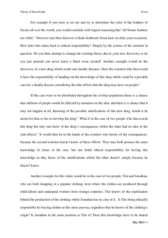 tok essay the possesssion of knowledge carries an ethical  4 theory of knowledge essay