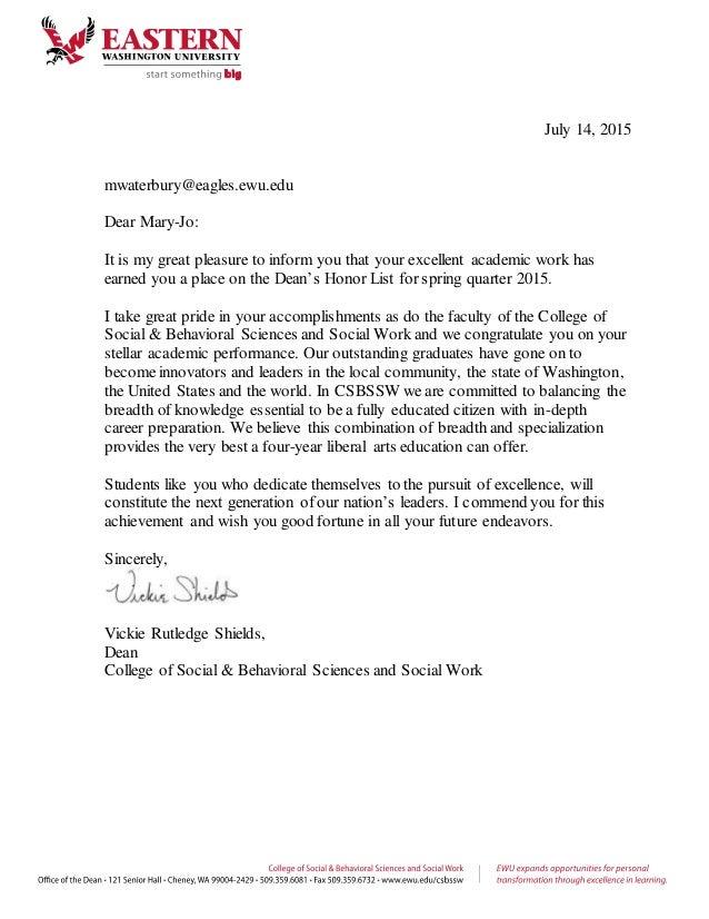 letter for college dean