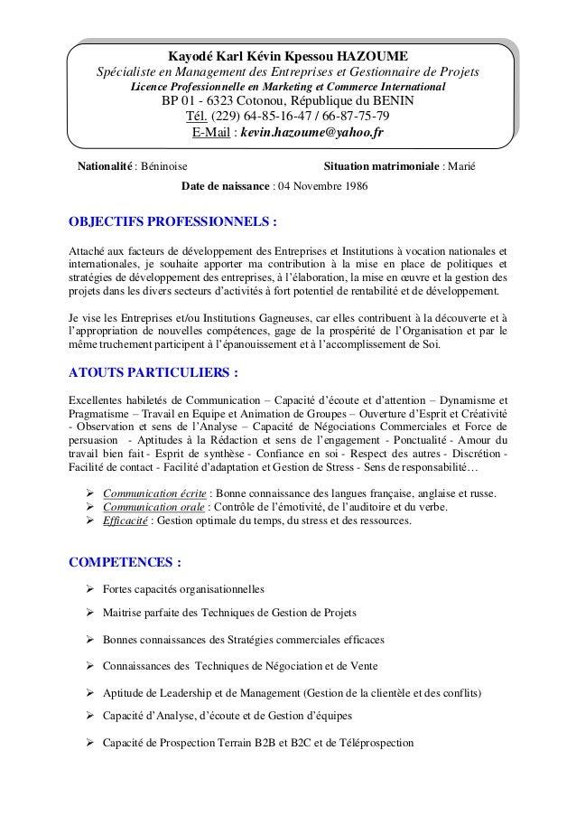 Kayodé Karl Kévin Kpessou HAZOUME Spécialiste en Management des Entreprises et Gestionnaire de Projets Licence Professionn...