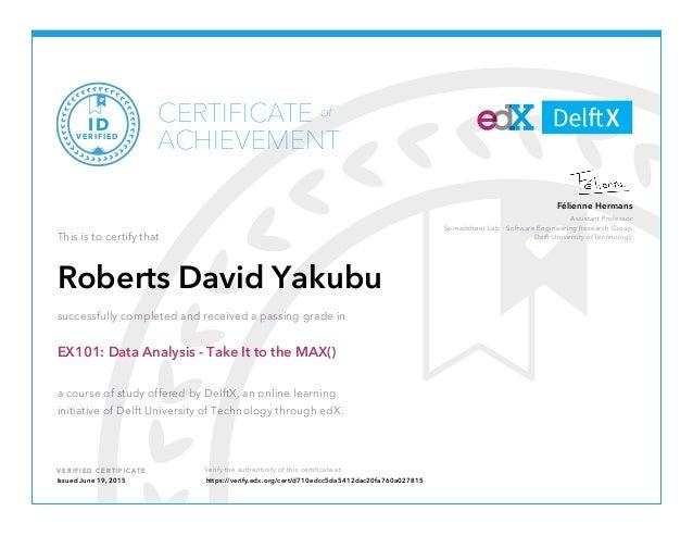 EDX Certificate - Data Max
