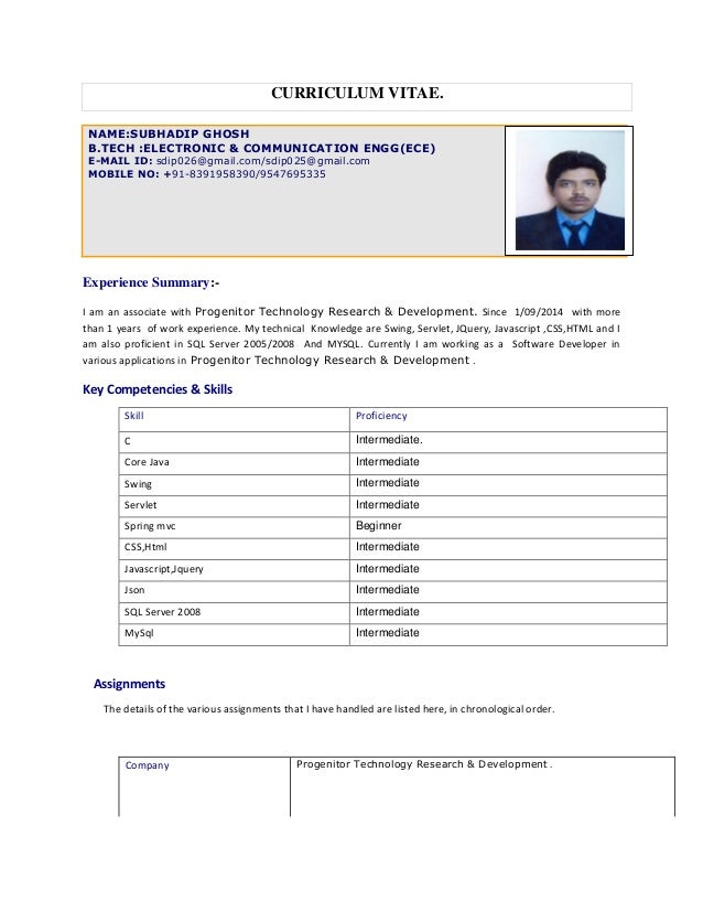 CURRICULUM VITAE. NAME:SUBHADIP GHOSH B.TECH :ELECTRONIC & COMMUNICATION ENGG(ECE) E-MAIL ID: sdip026@gmail.com/sdip025@gm...