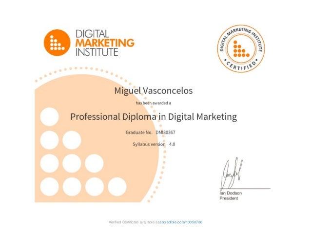 certificate marketing dmi