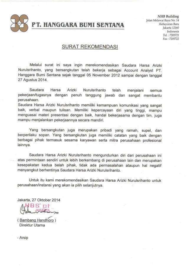 Surat Rekomendasi Hbs