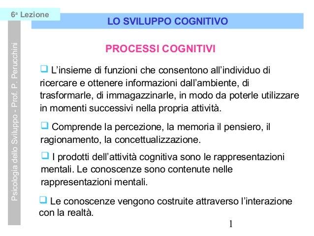 1 LO SVILUPPO COGNITIVO PsicologiadelloSviluppo-Prof.P.Perucchini6a Lezione  L'insieme di funzioni che consentono all'ind...