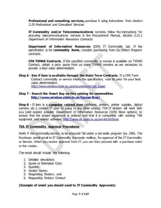 Tea purchasing manual draft 2011 for Purchasing manual template