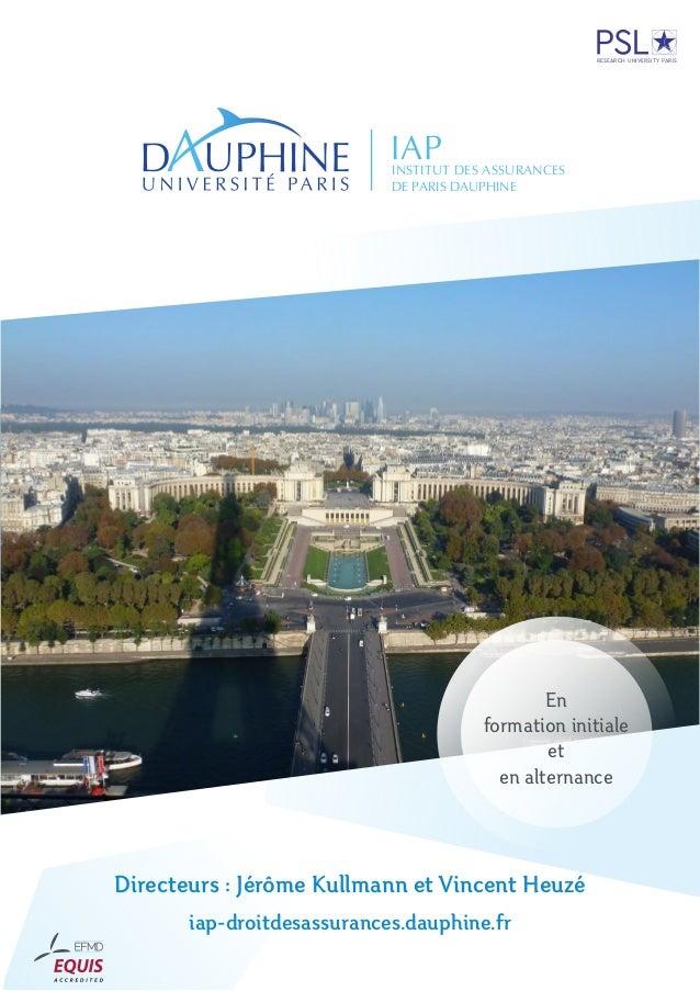 IAPINSTITUT DES ASSURANCES DE PARIS DAUPHINE RESEARCH UNIVERSITY PARIS Directeurs : Jérôme Kullmann et Vincent Heuzé iap-d...