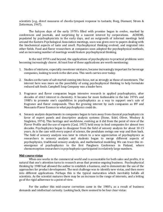 scientists (e.g., direct measures of chorda tympani response to tastants; Borg, Diamant, Strom & Zotterman, 1967). The hal...