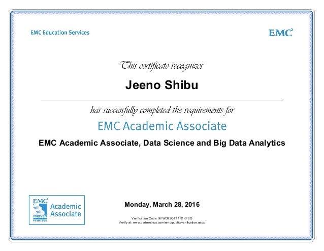 Emc Academic Associate Data Science And Big Data Analytics Certifica
