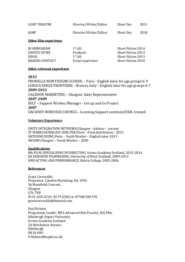 E V E L E O N A R D Film & TV CV