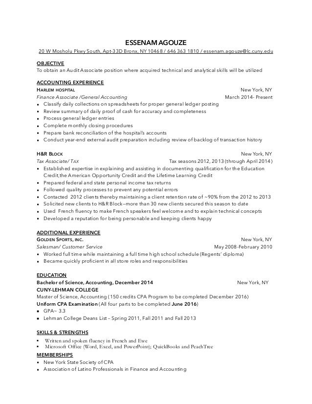 Esse Audit Associate Resume Accounting Resumes