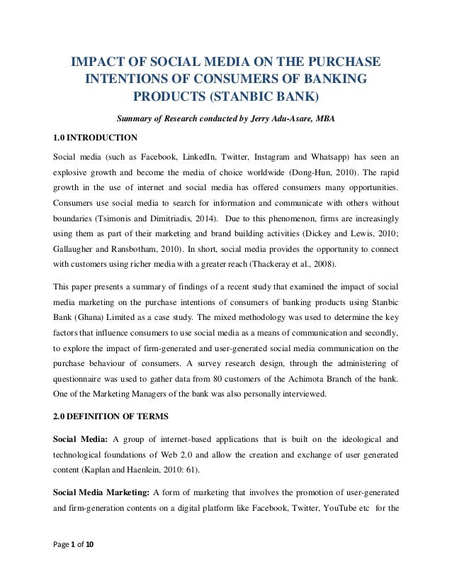 Page 1 of 10 IMPACT OF SOCIAL MEDIA ON THE PURCHASE INTENTIONS OF CONSUMERS OF BANKING PRODUCTS (STANBIC BANK) Summary of ...