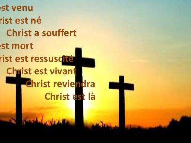 est venu rist est né Christ a souffert est mort rist est ressuscité Christ est vivant Christ reviendra Christ est là