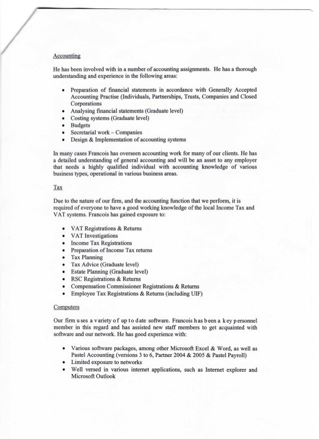 F BLOM LETTER OF RECOMMENDATION