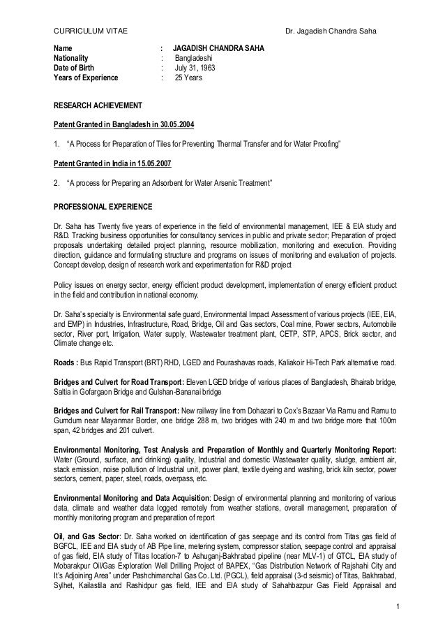 CV of JC Saha for Power Plant 290516