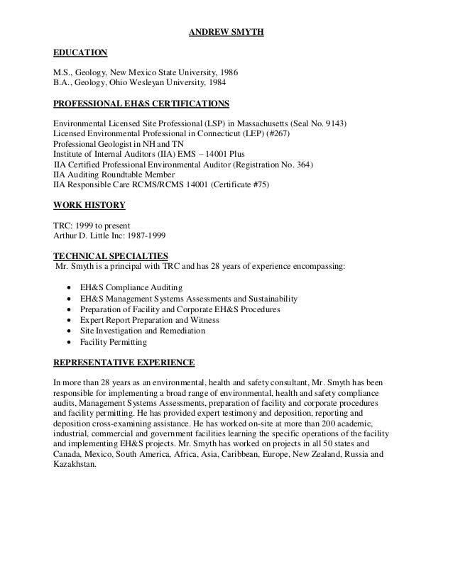 ANDREW SMYTH resume LinkedIn