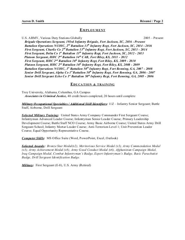Awesome Air Force First Sergeant Resume Examples Contemporary ...