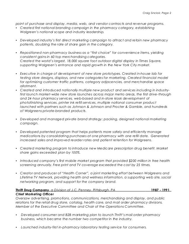 Walgreens Resume customer service associate resume samples Craig Sinclair Resume