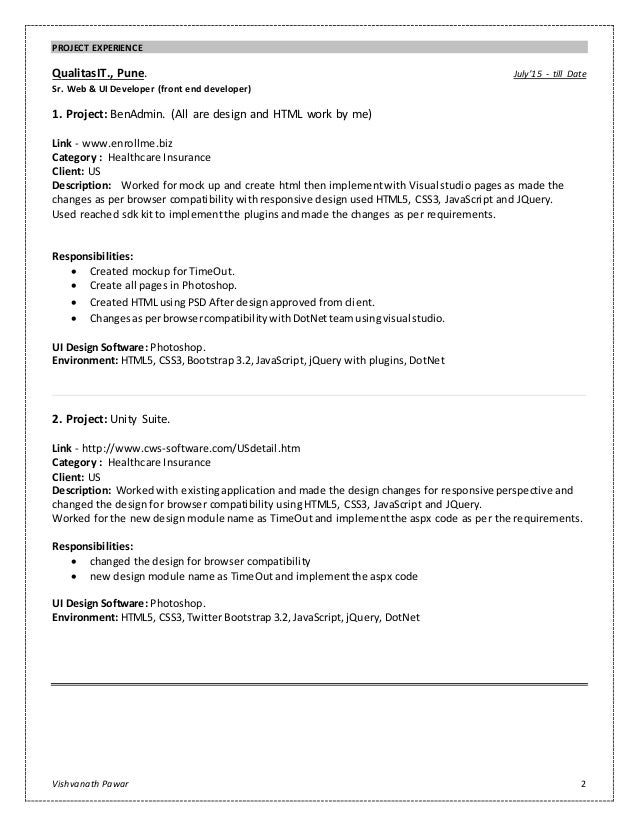 2 - Ui Developer Resume