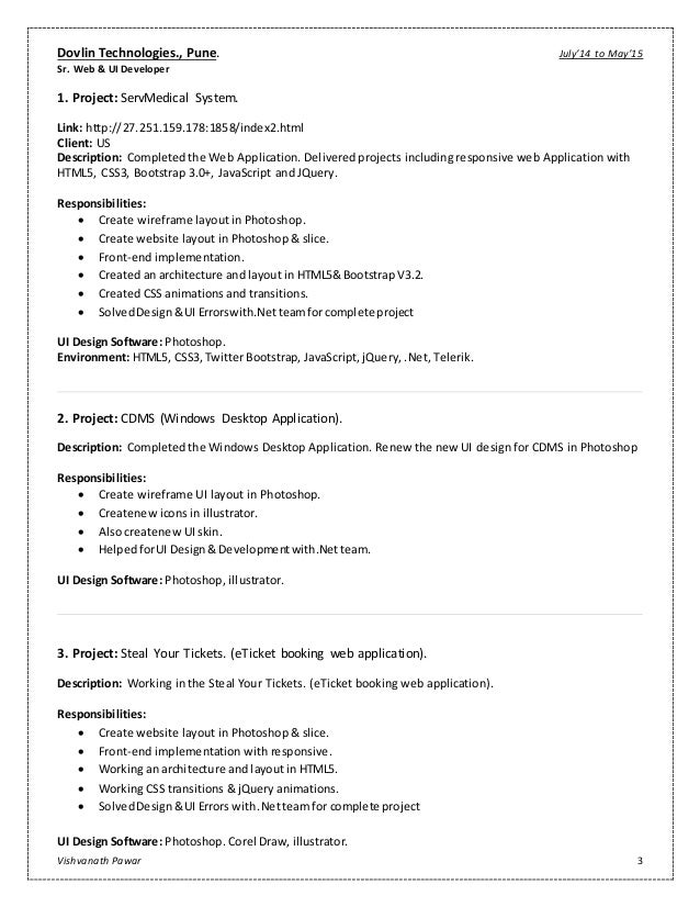 Vishvanath Pawar  Resume FrontEnd Developer Ui Design  Developer
